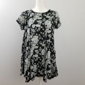 Urban Outfitters Black White Floral Swing Dress